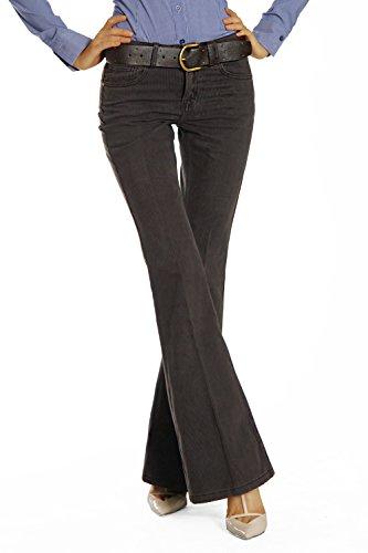 Bestyledberlin bootcuthosen j205p pour femme avec ceinture Braun / Grau