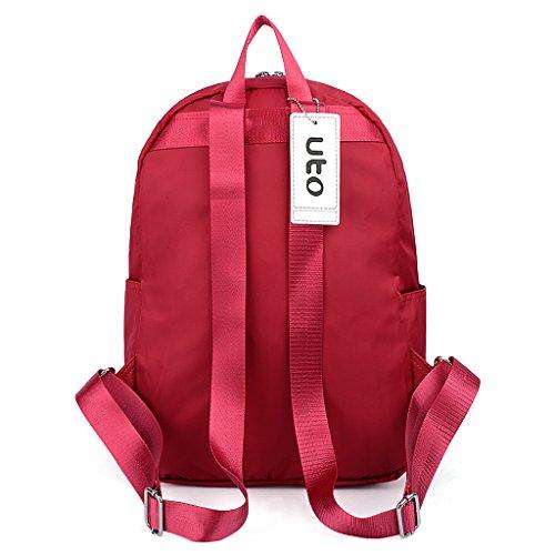 UTO Zaino Ultra-leggero e Pieghevole Unisex Zaino per Scuola in nylon impermeabile Grande capacità Borsa da viaggio Nero Rosso