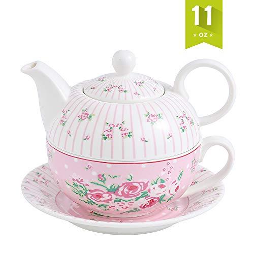 MALACASA, Serie Sweet.Time, Porzellan Teeservice Teeset 4 teilig Set Teekanne mit Tasse und Untersetzer Blumen Motiv Teekannen & Kaffekannen