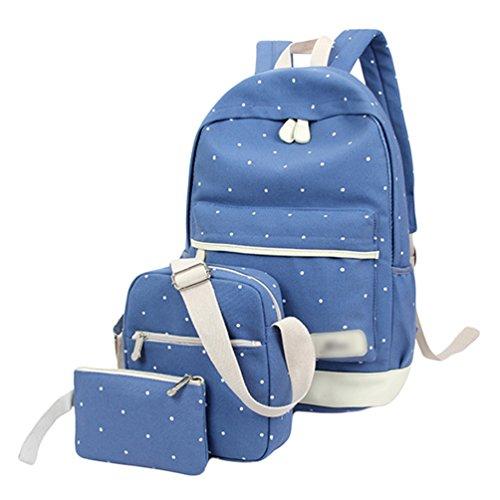 Sentao Donna Punto Zaino Casual Scuola Set 3pcs Daypacks / Tela Zaini Ragazza / Messenger Bag/Portafoglio Blu