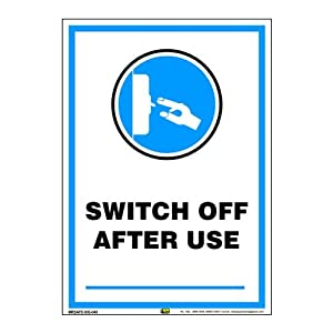 Mr. Safe – Switch Off After Use Sign PVC Sticker A3 (11.7 inch X 16.5 inch)