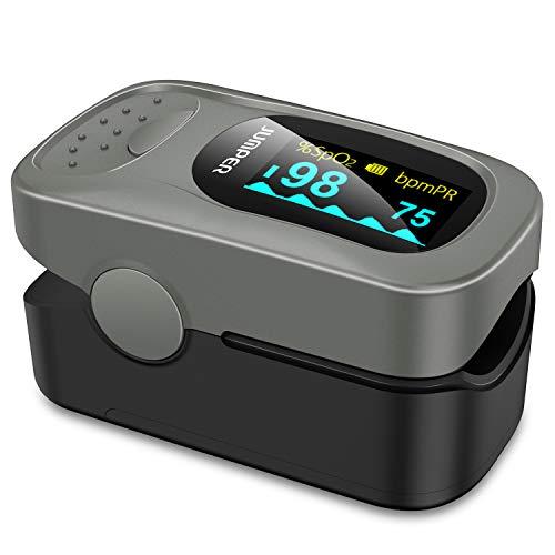 JUMPER 500A Pulsoximeter mit Großem OLED Bildschirm Finger SpO2 Pulsmesser Pulsmessgerät zur Messung der Blutsauerstoffsättigung und Herzfrequenz (Silber)