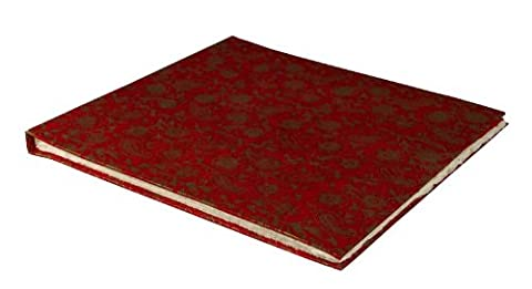 Scrapbook with Lokta Paper (Red with Garden Gold pattern) - Hardcover