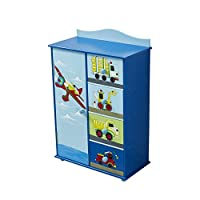 WODENY Kids Bedroom Cabinet, Children Storage Drawers, Childrens Storage Cabinet Wooden Car Truck Airplane Vehicles Ocean Paintings Blue
