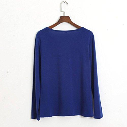 Ouneed® Femme V Col Lace Tee Shirt a manche longue Bleu