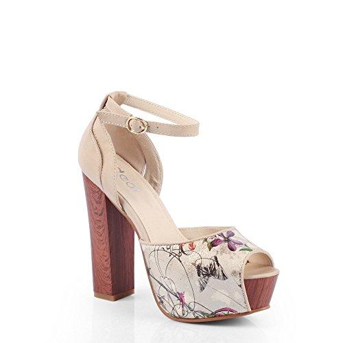 Ideal-Shoes Hochwertig Plateau-T-Stripe Sandale, mit Glitter Denisa EXCLUSIV Beige - Beige