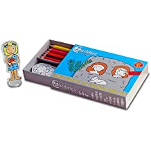 CARDDIES CAVEMEN CARD PEOPLE Colour and Play Set - Portable Art Kit with Sturdy Card Cave People, Animal Figures & Prehistoric Playscene for Colouring-in Creativity, Imagination, Pretend Play,  and Story Telling - Premium Pencils and Plastic Stands- Perfect Travel Toy