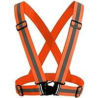 STRIR Chaleco de Seguridad Reflectante de Alta Visibilidad arnés elástica Ajustable Ligero para Correr, Trotar, Andar en Bicicleta, Caminar, Hacer Deportes en Exterior Etc (Naranja)