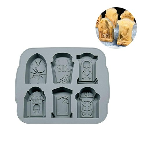 Aolvo Ice Cube Tabletts mit Deckel Halloween Thema, BPA-Frei Silikon Ice Formen Ice Makers 6 Old Fashioned Ice Cube Tray für Cocktails Whiskey Sommer Party Grau (Thema Von Halloween)
