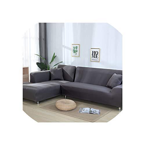 Grau Farbe Enge Wrap-Sofa-Abdeckung Elastic benötigt 2 Stück bestellt Sofa-Abdeckung Wenn L-Art-Ecksofa, Grau, 2-Seater 145-185Cm -