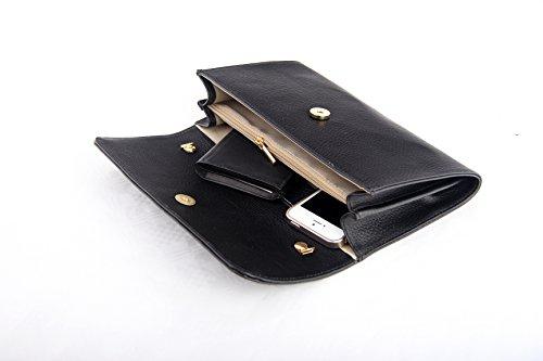 """SLINGBAG """"Ela"""" Clutch / Abendtasche / Handtasche aus echtem Leder / FARBAUSWAHL (Dunkelgrau) Dunkelgrau"""