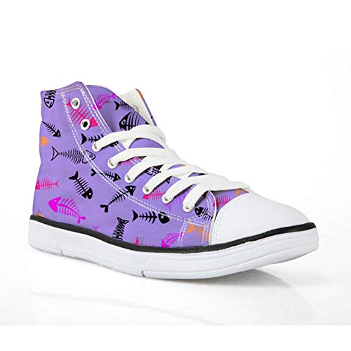 Fashion Hi Tops Sneakers Women Lace Up Walking Trainers Canvas Shoes for Girls Purple-Fishbone UK 2 -