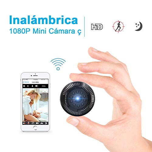 Cámara Inalámbrica Oculta de Vigilancia con Resolución 1080P. Mini WiFi Cámara Espía con Grabación de Video Alerta de Detección de Movimiento, Visión Nocturna y Visualización Remota de Supoggy