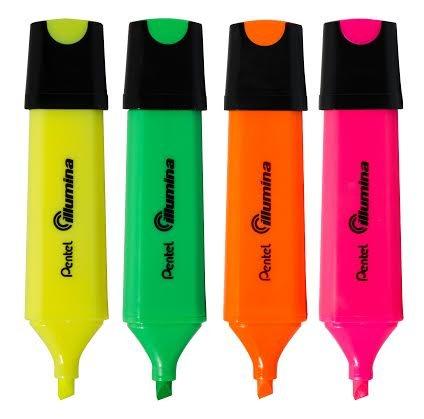 Pentel Textmarker Stift Illumina Mixed Farben Breite 4mm Meißel Spitze [4er Packung]