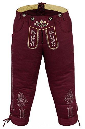 German Wear Damen Trachten Kniebundhose Jeans Hose kostüme mit Hosenträgern in der 4X Farben, Größe:34, Farbe:Weinrot