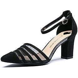 Frühling und Sommer elegante High Heels sexy flachen Mund hohlen Damen rau mit der Art der Schuhe ( Farbe : Schwarz , größe : 39 )