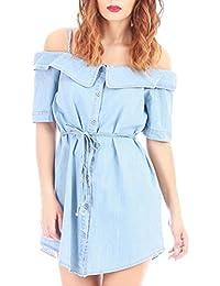 La Modeuse - Robe chemise courte effet denim épaules dénudées et manches courtes