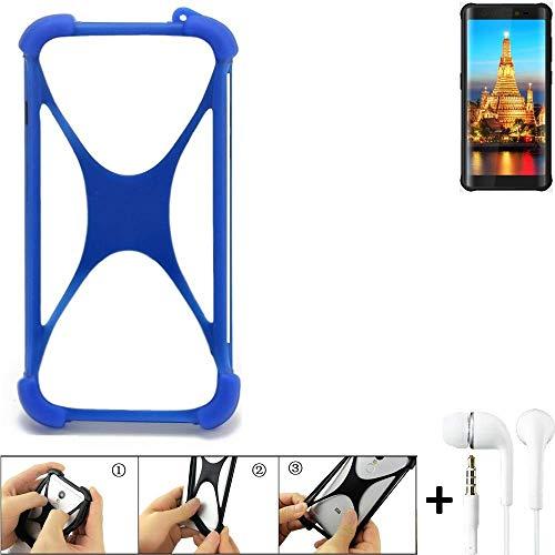 K-S-Trade Handyhülle für Energizer H590S Bumper Schutzhülle Silikon Schutz Hülle Cover Case Silikoncase Silikonbumper TPU Softcase Smartphone, Blau (1x), Headphones