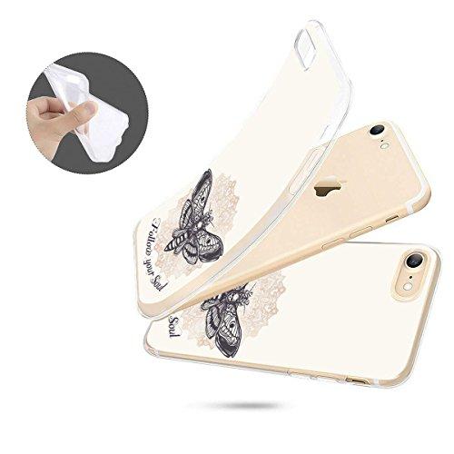 finoo | iPhone 8 Weiche flexible Silikon-Handy-Hülle | Transparente TPU Cover Schale mit Motiv | Tasche Case Etui mit Ultra Slim Rundum-schutz |Schmetterling bunt Follow your Soul unten