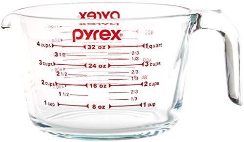 Pyrex SYNCHKG039125 Messbecher, 4 Stück, transparent mit roten Grafiken - Glas Messbecher 4