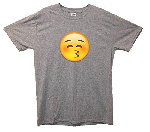 Kissy Face Emoji T-Shirt Grau