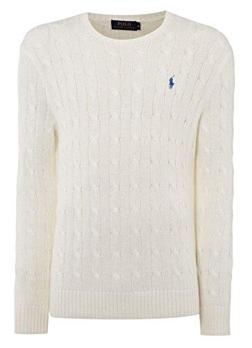 Ralph Lauren Polo Herren Zopfmuster Rundhals Pullover Schwarz, Marineblau, Grau, Weiß, Hellgrau 2015/16 UK Lager Weiß Bianco