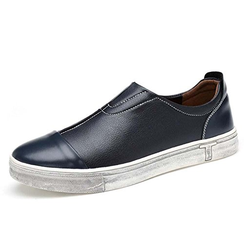 Onfly Pumpe Loafer Schlüpfen Leder Lässige Schuhe Pedal Schuhe Männer Mode Pure Farbe Gummiband Anti-Rutsch Weiche Sohle Lazy Schuhe Fahrschuhe Eu Größe 38-44 , blue , 39