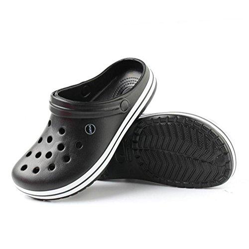 Chaussures de jardin pour hommes Tongues De plein air Des sandales Accueil Chaussons Été Plage Baotou Chaussures 2 achetés 1 offert black