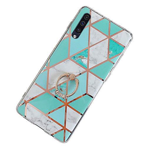 Herbests Kompatibel mit Samsung Galaxy A50 Hülle Bunt Marmor Muster TPU Silikon Handyhülle Glänzend Bling Glitzer Diamant Strass Ring Halter Ständer Crystal Case Tasche Schutzhülle,Grün