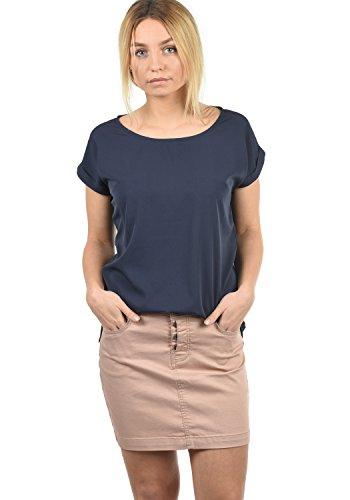 Saum U-boot-ausschnitt (BlendShe Amarena Damen Lange Bluse Kurzarm Mit U-Boot Ausschnitt Und Verschiedene Prints Loose Fit, Größe:XL, Farbe:Mood Indigo Solid (20064))