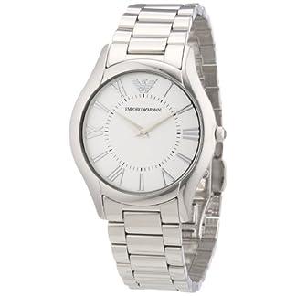 Emporio Armani AR2056 – Reloj analógico de Cuarzo para Mujer, Correa de Acero Inoxidable Color Plateado