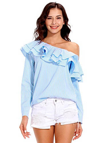 ISASSY Damen Schulterfreies Oberteil Langarm Tops Sommer Bluse Shirt mit Carmen Ausschnitt Blau
