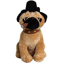 """Perro de peluche 35 cm """"pug"""" con el cigarro"""