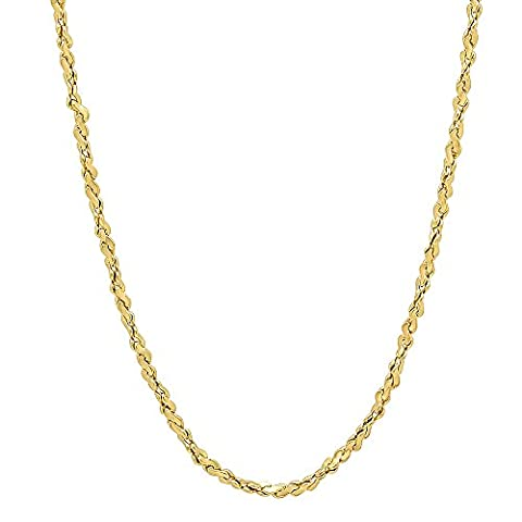 2mm Gold Plated Twist Nugget Chain Necklace, 45.5 cm + Microfiber Jewelry Polishing Cloth