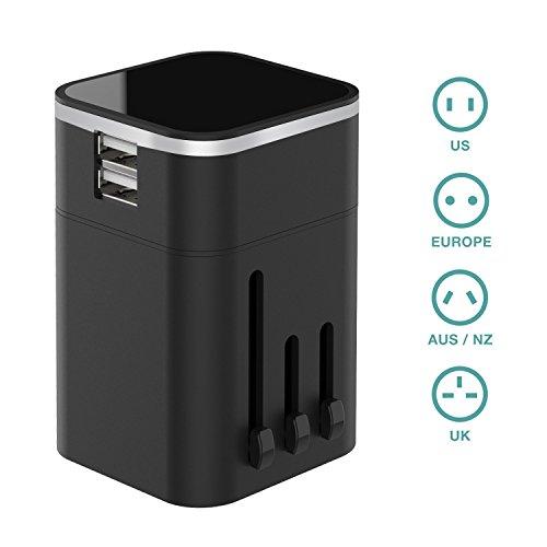 Reiseadapter Universal Adapter 4 in 1 Reisestecker mit 2 USB Ports fuer 150 Länder Weltweit Universal, wie USA, UK, EU, Australien, China usw. (Schwarz)