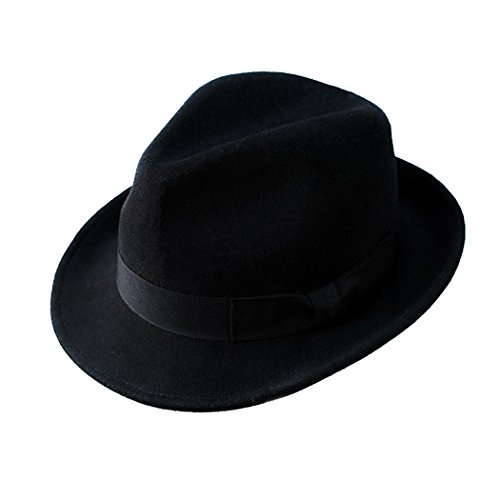 Trilby Hut 100% Wolle Filz Panama Fedora Jazz Sun Beach Stil mit schwarz Band Delle Krone für Männer Outfits (Gangster Mädchen Outfit)