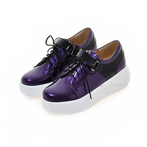 VogueZone009 Damen Pu Leder Gemischte Farbe Schnüren Rund Zehe Mittler Absatz Pumps Schuhe Lila