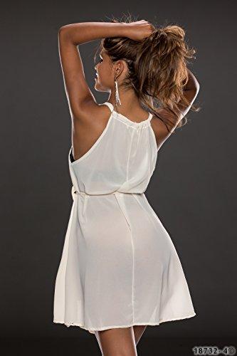 5053 Fashion4Young mini robe sans manches de cocktail pour femme en chiffon disponible en 9 couleurs pour femme taille 36/38 Blanc - Ivoire