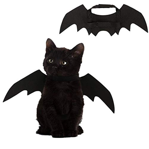Leezo Halloween Haustier Kostüm Black Bat Wings Bekleidung Cosplay Party Zubehör für Hunde Katzen Welpen Kätzchen (Kostüm Für Katzen Kätzchen)