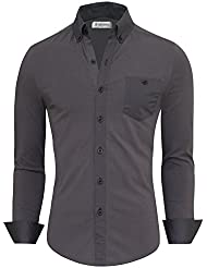 Tom's Ware Chemise-Contraste Chest Pocket Robe manches longues-Hommes