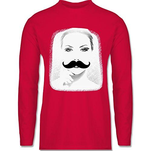 Hipster - Frau Moustache - Longsleeve / langärmeliges T-Shirt für Herren Rot