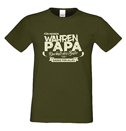 Geburtstag, Geburtstagsgeschenk Herren T-Shirt Funshirt Für meinen wahren Papa Geschenkidee, Geschenkset, auch in Übergröße Farbe: khaki Khaki