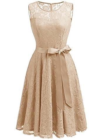Dressystar DS0009 AbendKleid Ärmellos Kurz Brautjungfern Kleid Spitzen Rundhals Damen Kleider Champagner XS