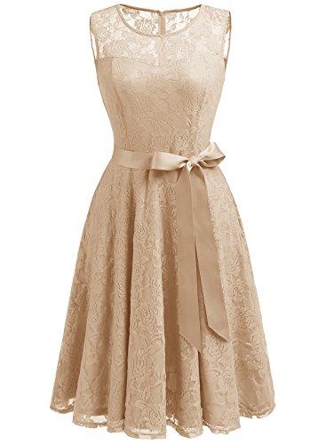 Dressystar DS0009 Abendkleid Ärmellos Kurz Brautjungfern Kleid Spitzen Rundhals Damen Kleider Champagner S (Champagner-kleid Für Frauen)