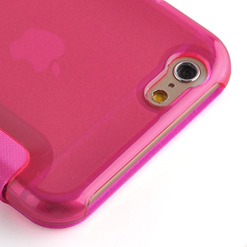JAMMYLIZARD | Transparente Flip Case Handyhülle für iPhone 6 Plus / 6s Plus 5.5 Zoll, WEIß KNALLROSA