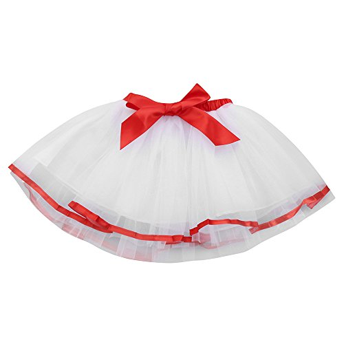 Of Queen Hot Hearts Kostüm - Lazzboy Baby Mädchen Kinder Solide Tutu Ballett Röcke Phantasie Party Rock Tüllrock Minirock Lagen Tanzkleid Dehnbaren Tütü Ballettrock Für Halloween Kostüme(Weiß,M)