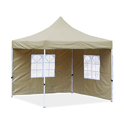 JOM Falt-Pavillon, 3 x 3 m, beige, Profi Ausführung, Material Oxford 420 D, wasserdicht, 2 Seitenwände, Befestigung Seitenwände mit Reisverschluß