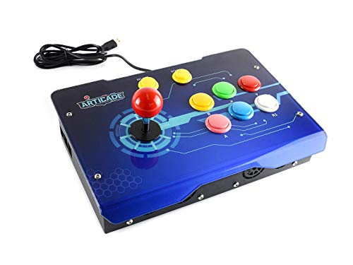 Waveshare Arcade-D-1P USB Arcade Control Box Supports Raspberry Pi PC  Tablet 1 Player Smart TV Provides Classic Joystick and Colorful Buttons  Driver