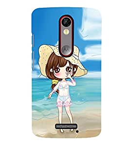 Vizagbeats Animated Girl Beach Background Back Case Cover for Motorola Moto X force