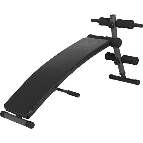 GYRONETICS Bauchtrainer mit Beinfixierung Schwarz - Sit-up-Bank verstellbar und klappbar